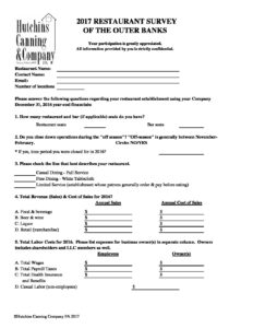 2017 restaurant survey questionnaire pdf hutchins canning